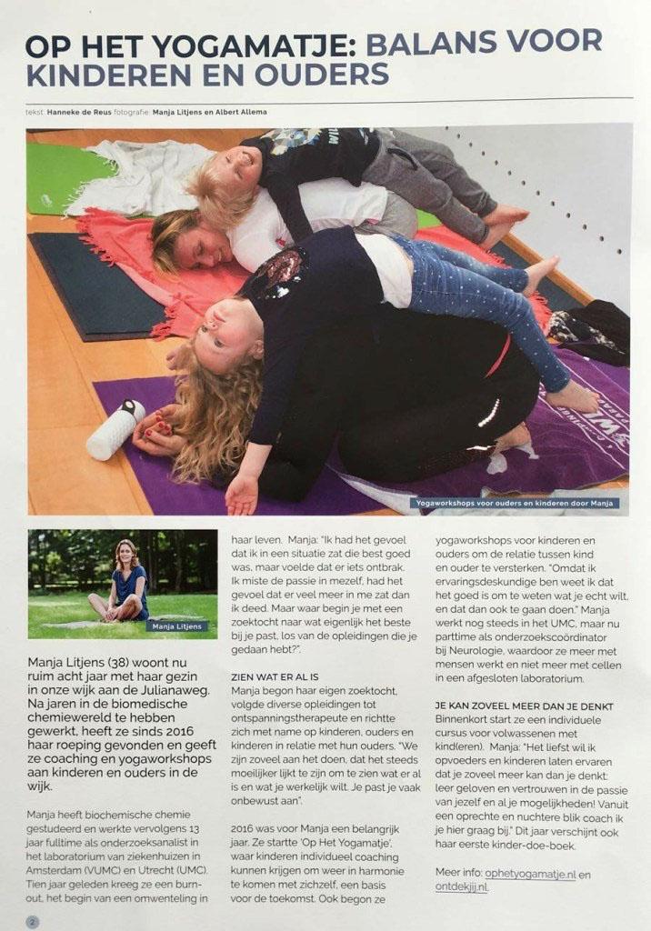 interview HSP ontspan coach manja van op het yogamatje in hoograven wijkkrant aanzet over kindercoaching, kinderboek en kinderyoga die fijn zijn voor hooggevoelige kinderen
